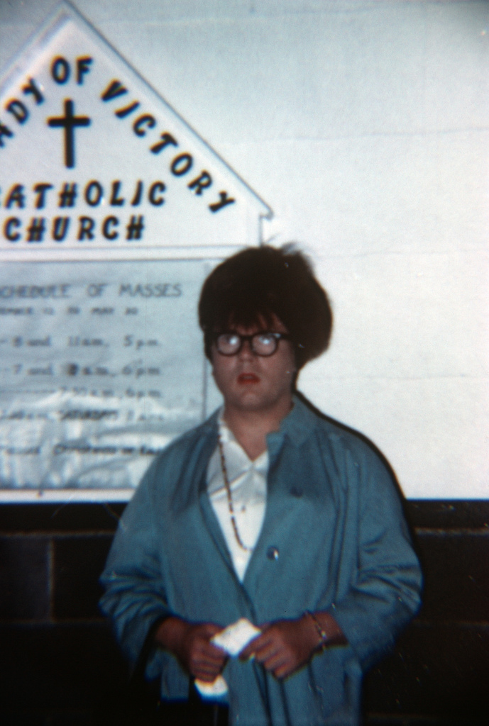 Babette outside a Catholic church in Seaside, OR, mid 60s