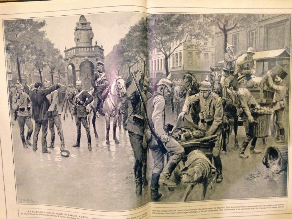 German soldiers advancing through Belgium are depicted abusing civilians